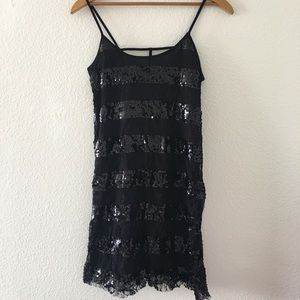 NWT Wet Seal Black Sequin & Lace Bodycon Dress